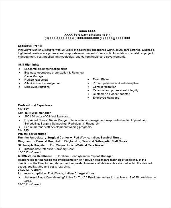 example clinical nurse manager resume