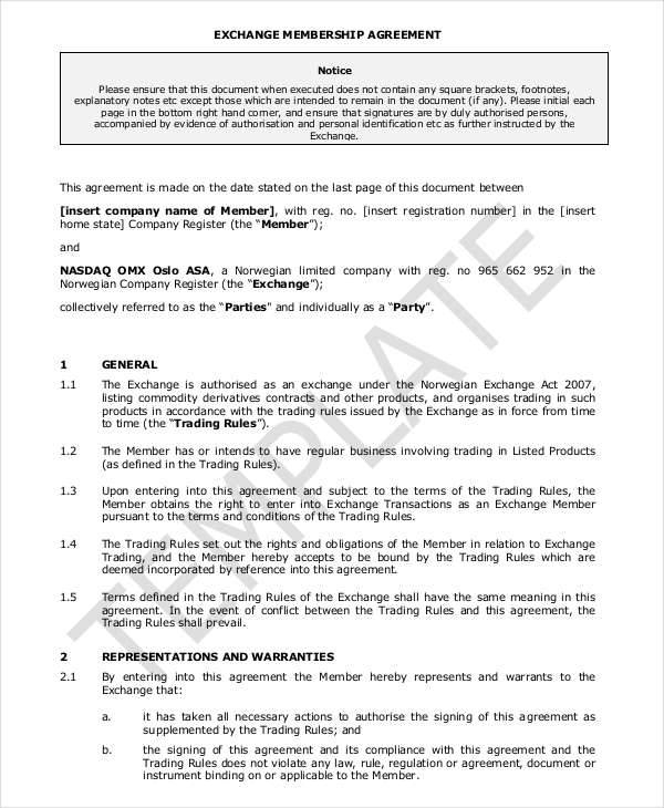 exchange membership agreement