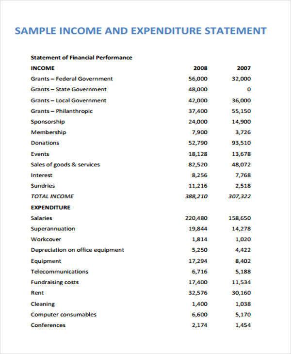 expenditure statement