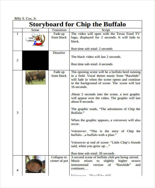 Script Storyboard   Examples In Word Pdf