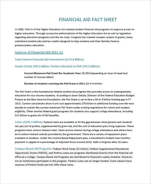 financial aid sheet
