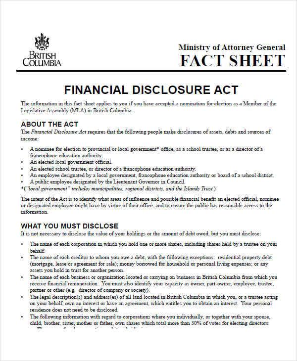 financial disclosure act