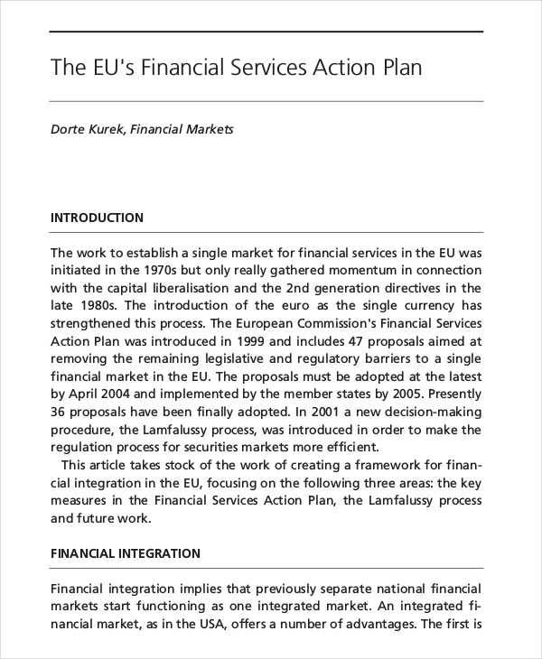 financial service action plan