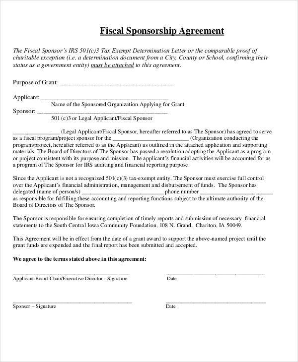 Sponsorship Agreement  Free Sample Example Format Download