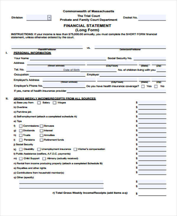 Financial Statement (Short Form) - Massachusetts Free Download