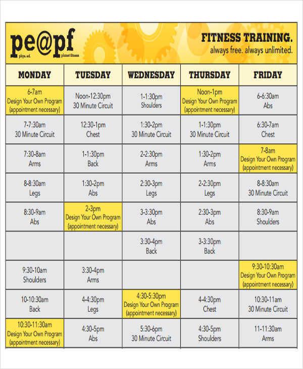 fitness training calendar1