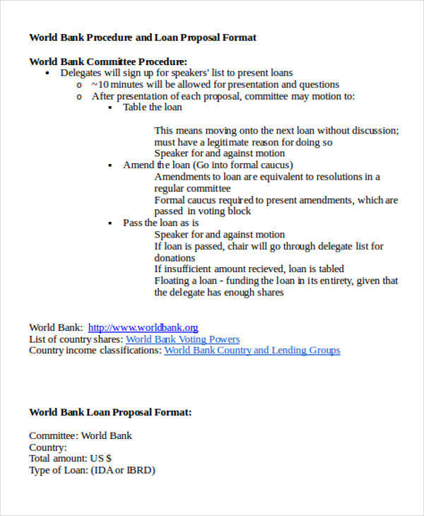 Loan Proposals  Free Sample Example Format Download