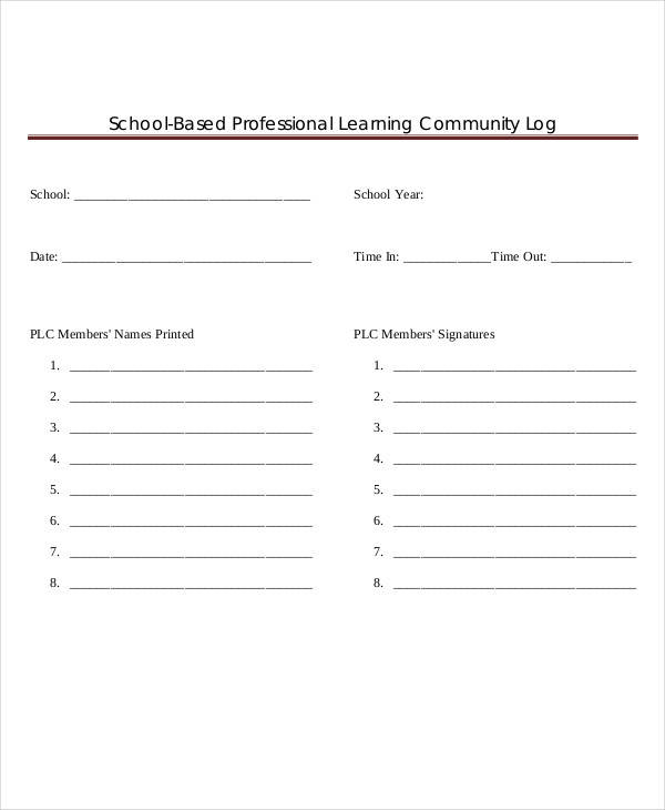 free community log template