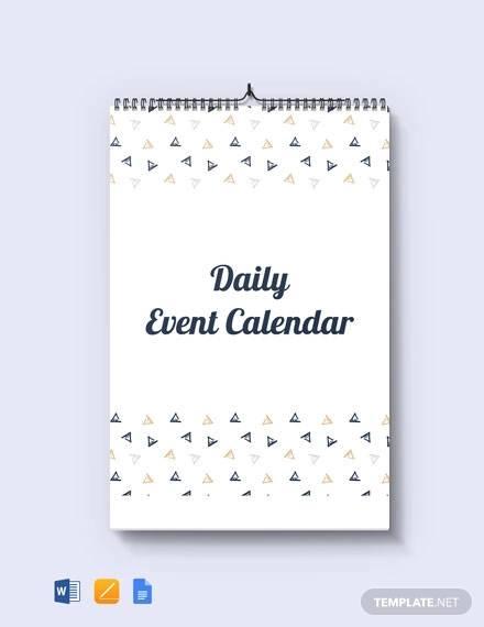 free daily event desk calendar template