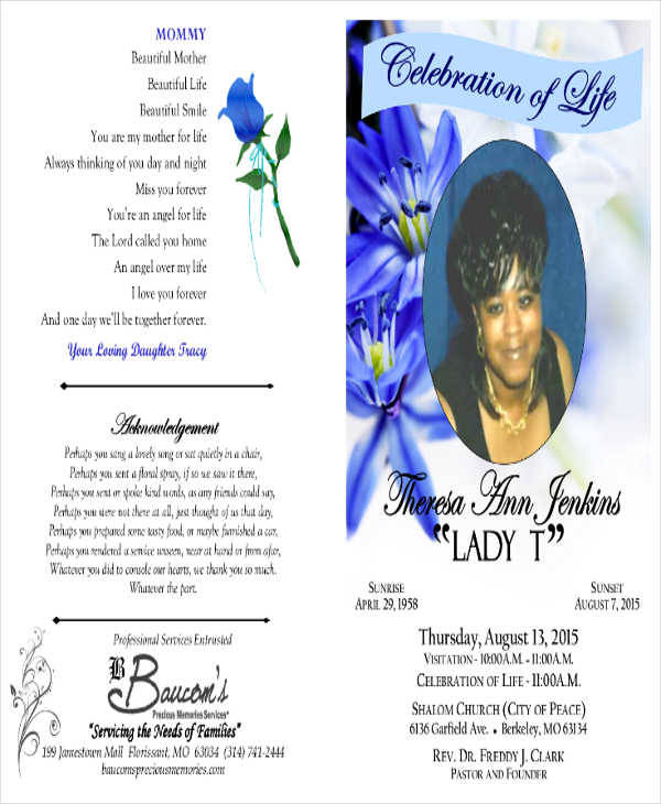 Free Obituary Program  Free Obituary Program Template