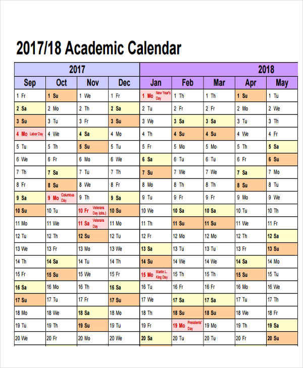 5 Academic Calendar Templates Free Sample Example Format Download – Sample Academic Calendar