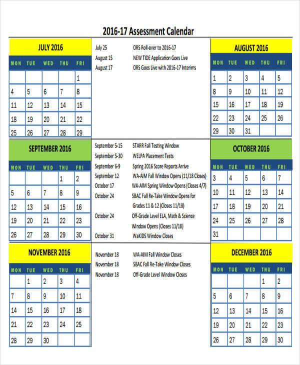 free printable assessment calendar