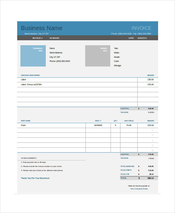 free printable auto repair invoice