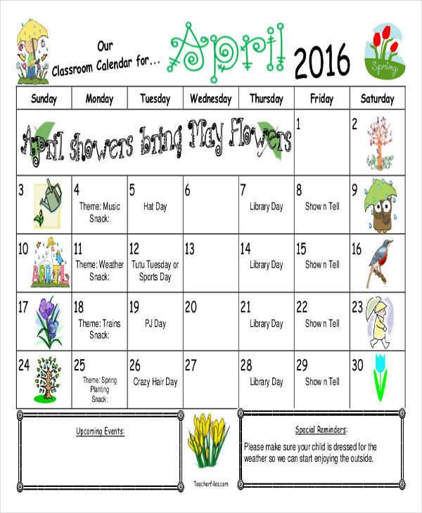 free printable classroom calendar