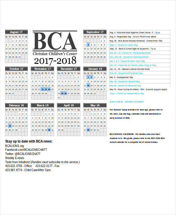 free yearly calendar