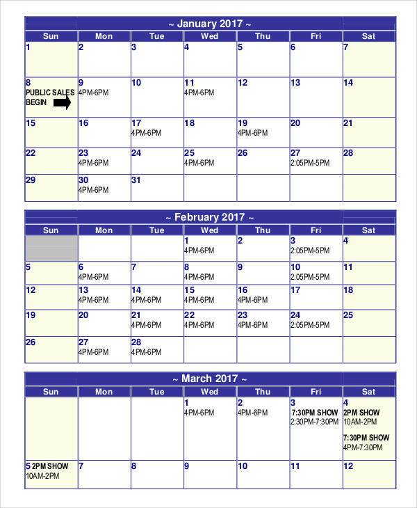 Sales Calendar Templates  Examples In Word Pdf