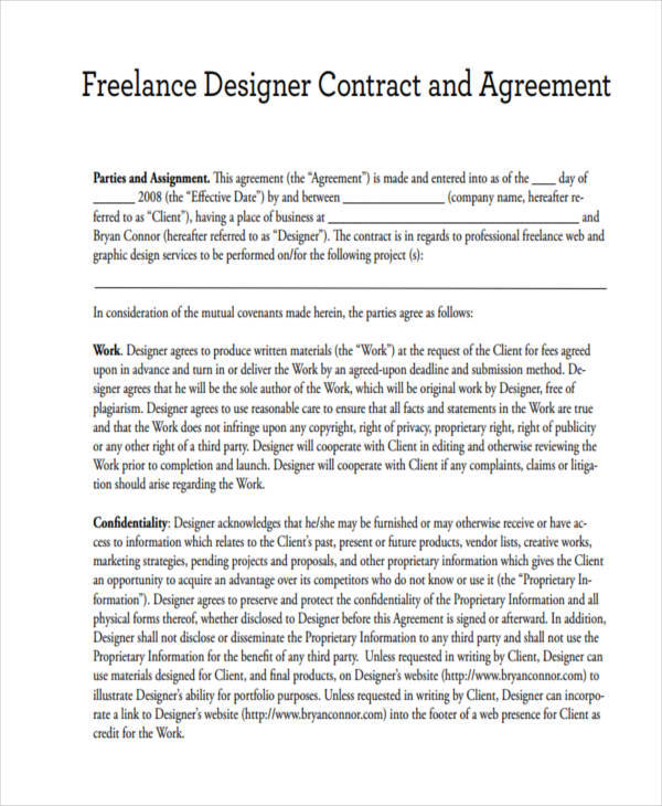 Freelance Contract Templates  Free Documents In Word Pdf