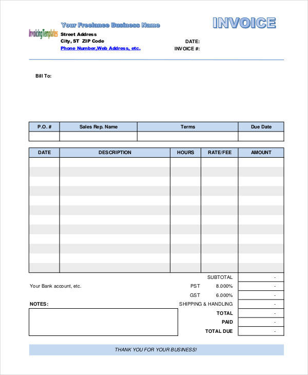freelance job invoice