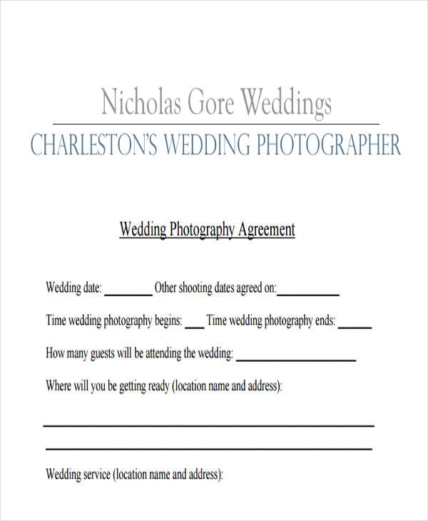 8 Photography Contract Templates Free Sample Example Format