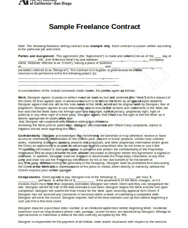 Attractive Freelance Photography Contract