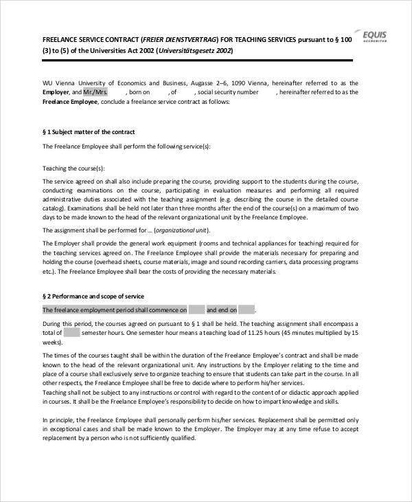 freelance service contract