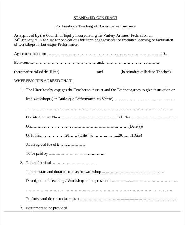 Teacher Contract Templates  Free Sample Example Format Download