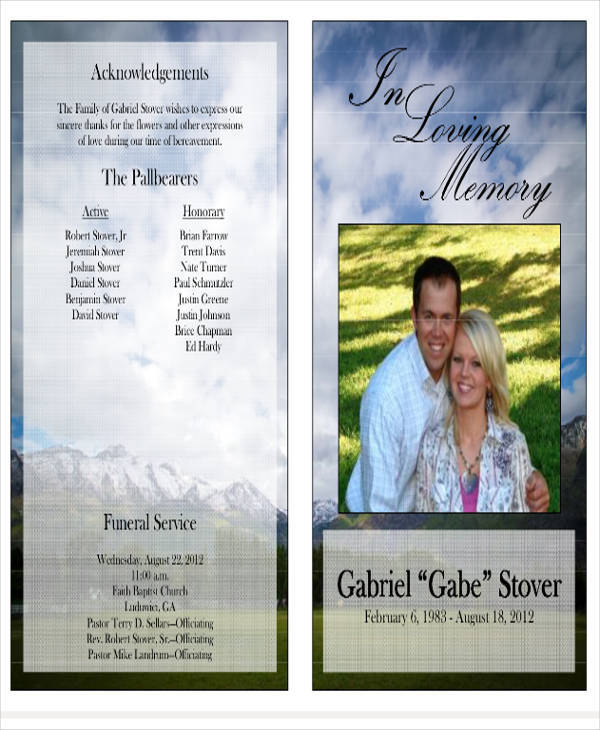 TriFold Funeral Program Template Printable  BiFold And Tri
