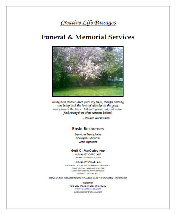 Sample Funeral Program  Free Sample Example Format Download