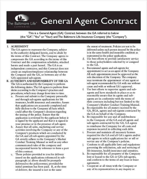 general agent contract