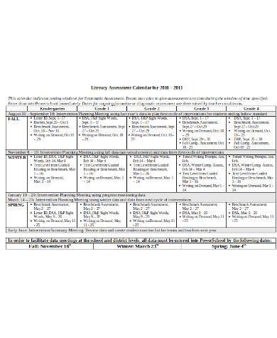 general assessment calendar