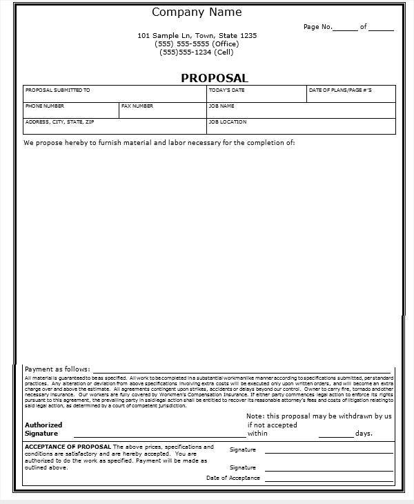 Proposal Contract Samples  Templates  Pdf Doc