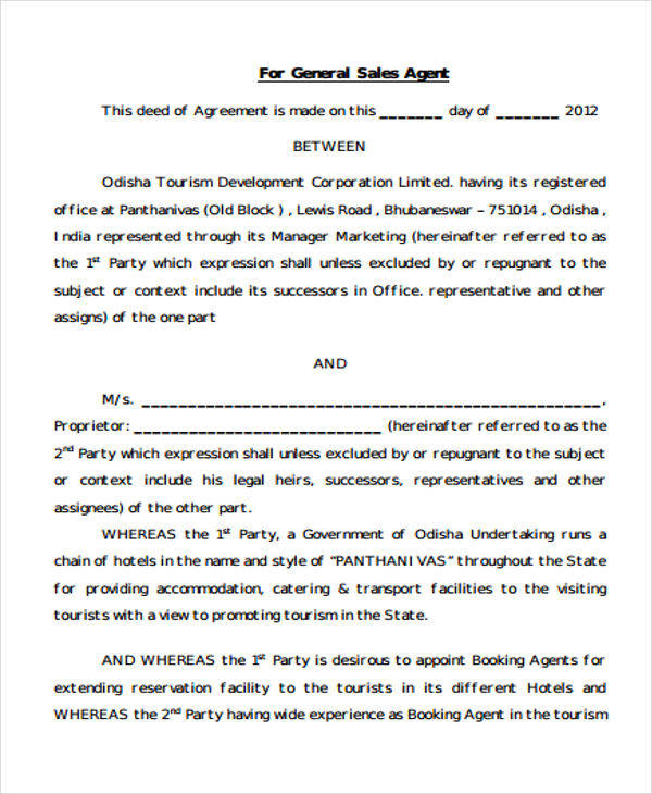 Sales Agent Contract  Free Sample Example Format Download