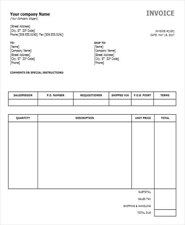 10 generic invoice templates -