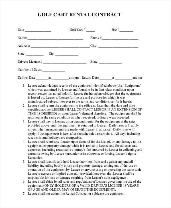 golf rent contract