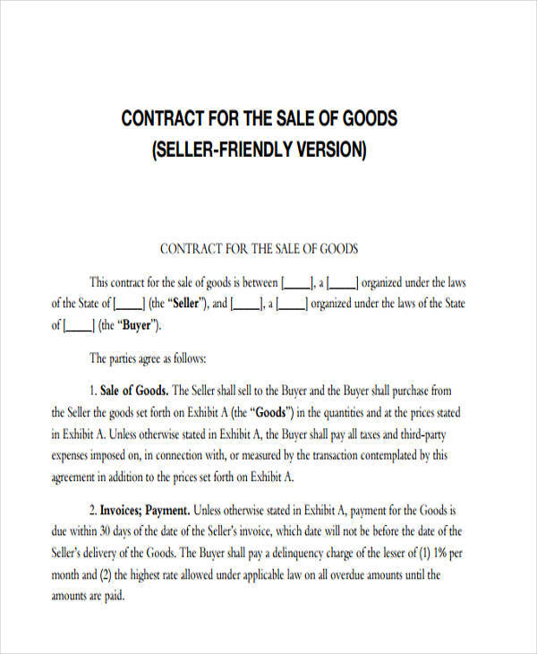sale of goods agreement template - 7 sales contract template free downloadable samples