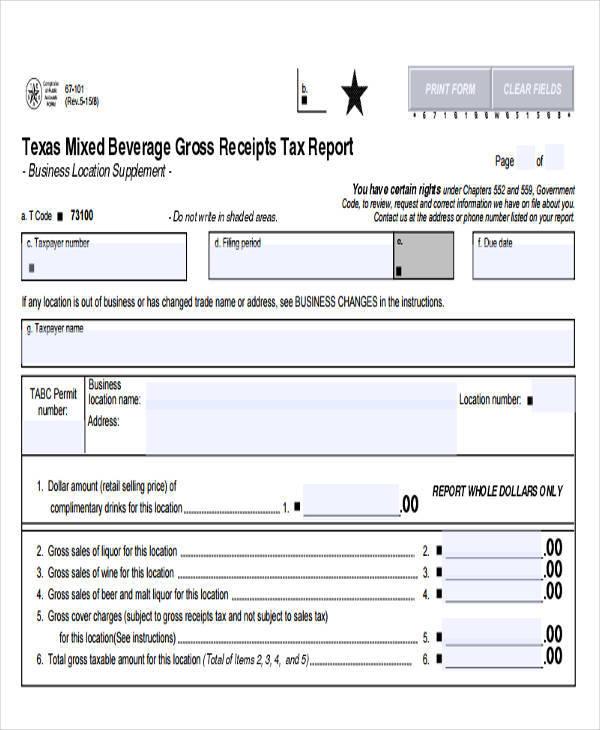 gross sales tax receipt
