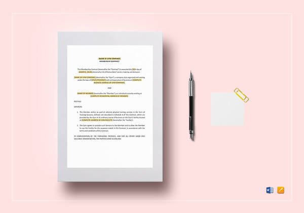 gym contract template in google docs