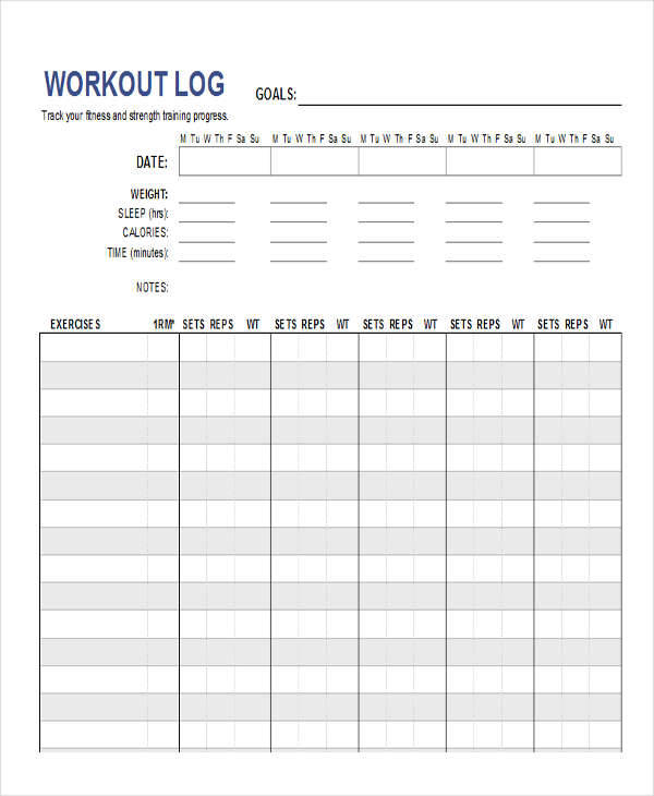 27 log templates in excel sample templates for Bodybuilding excel template