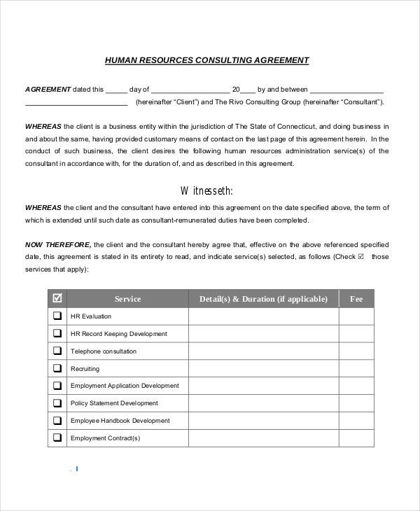 Hr Agreements  Examples In Pdf