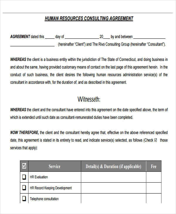 Hr Agreement Samples  Templates  Pdf Doc