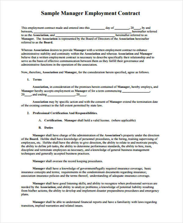 Hr Contract Samples  Templates In Pdf