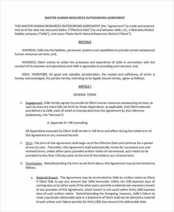 Hr Contract Templates  Free Sample Example Format Download