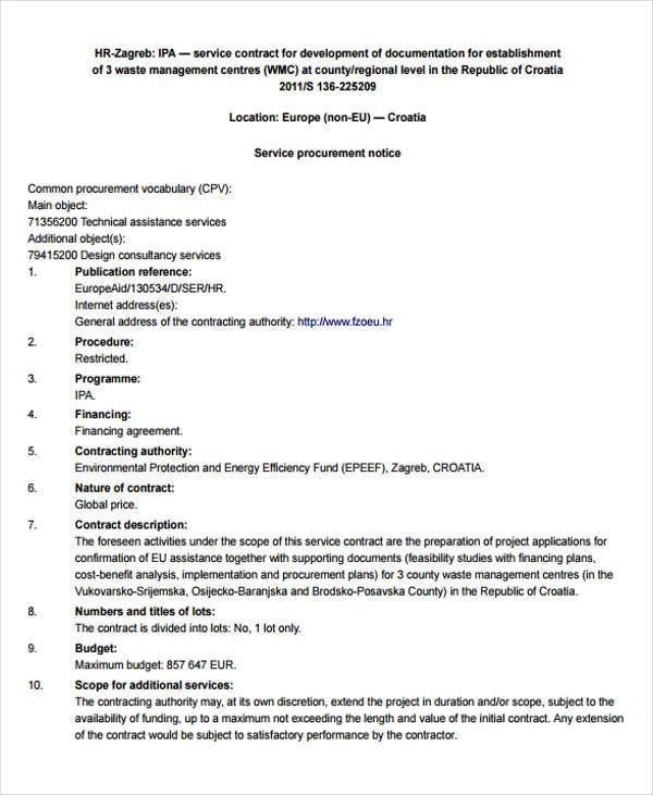 6+ Hr Contract Template - Examples In Word, Pdf