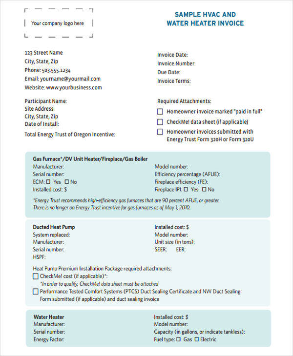 Hvac Invoice Template  Free Sample Example Format Download