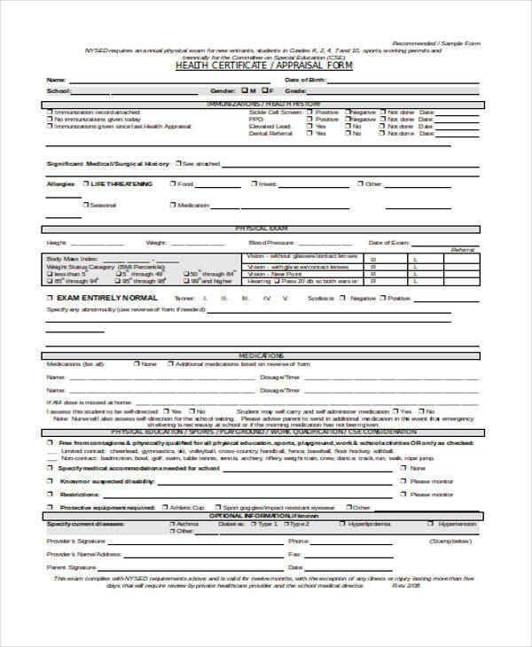 Health Appraisal Form Student Performance Appraisal Form Hr