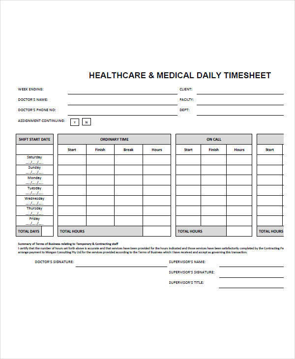 healthcare medical consultant timesheet