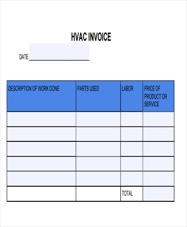 heating contractor invoice