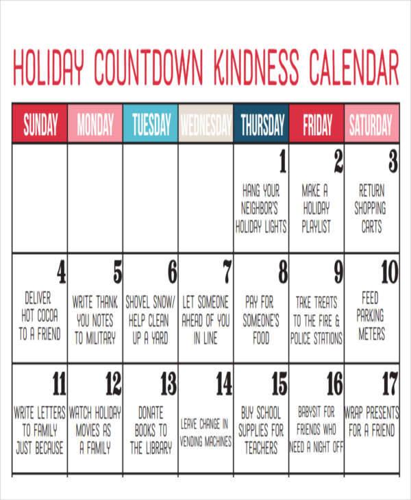 holiday countdown calendar