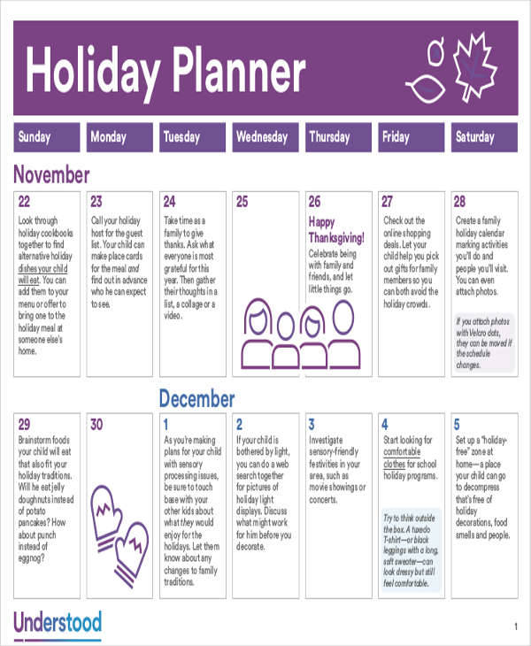 holiday planner pack calendar1