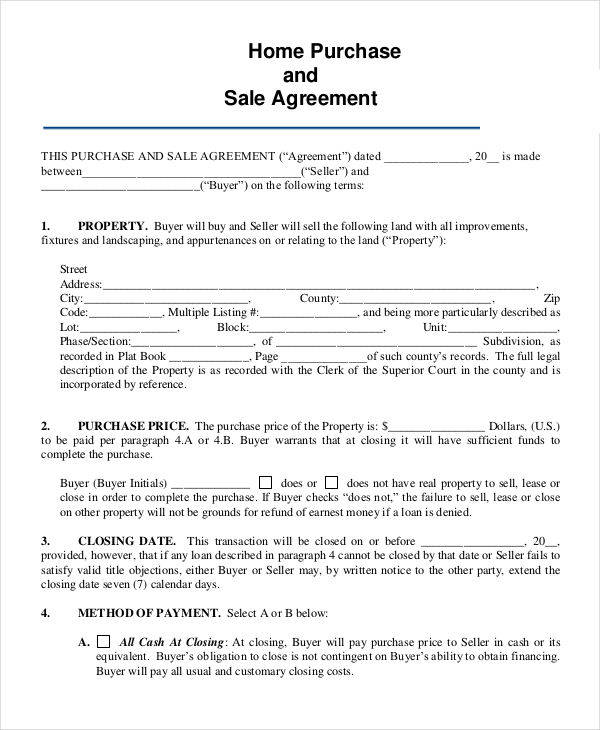 Home Sales Contracts Samples  Templates In Pdf